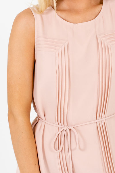 Blush Pink Pleated Waist Tie Mini Dresses for Women