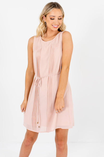 Blush Pink Pleated Mini Dresses Affordable Boutique