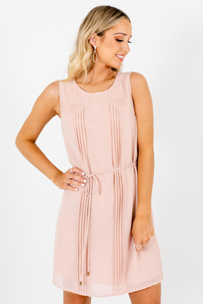 Blush Pink Pleated Mini Dresses Affordable Online Boutique