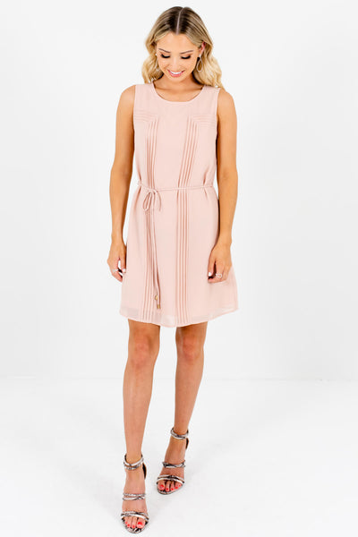 Light Blush Pink Pleated Mini Dresses Affordable Boutique