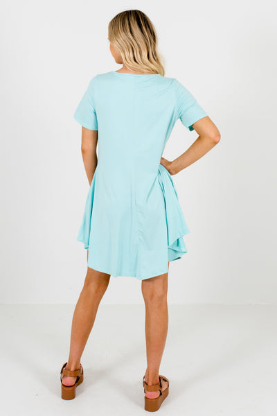 Aqua Blue Soft Stretchy Mini Dresses with Pockets