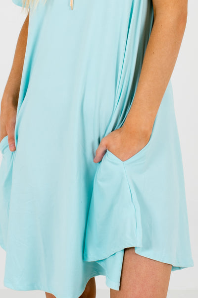 Aqua Blue Suede Like Soft Pocket Mini Dresses for Women