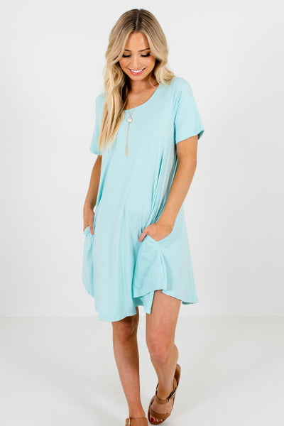 Aqua Blue Cute Boutique Mini Dresses with Pockets