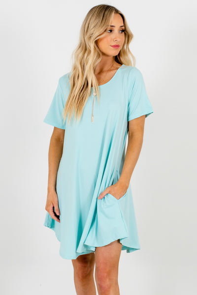 Aqua Blue Short Sleeve Mini Dresses with Pockets
