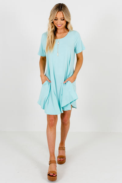 Aqua Blue Cute Mini Dresses with Pockets Affordable Online Boutique