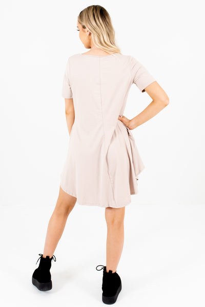 Beige Mini Dresses with Pockets Affordable Online Boutique