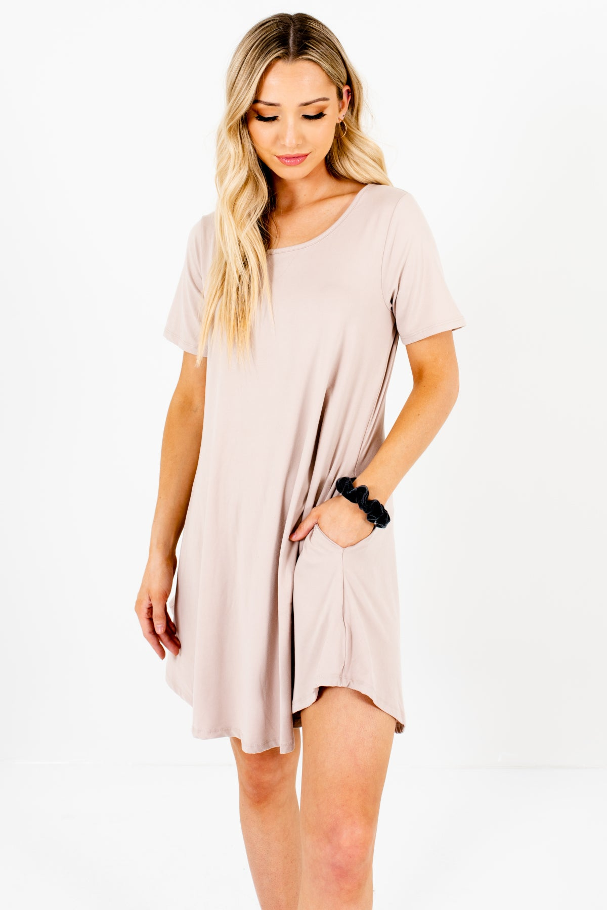 Beige Soft Comfy Mini Dresses with Pockets Affordable Online Boutique