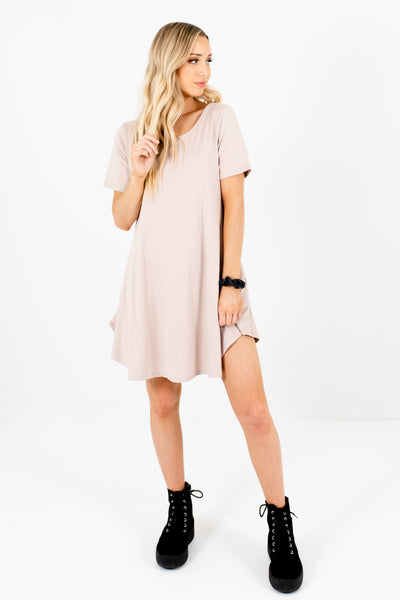 Light Brown Beige Soft Mini Dresses Affordable Online Boutique