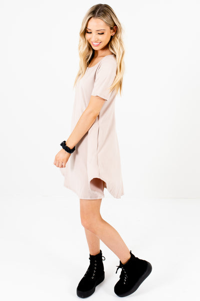 Beige Soft Mini Dresses with Pockets Affordable Online Boutique