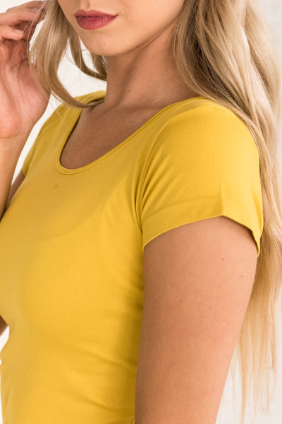 Mustard Yellow Layering Tees for Women