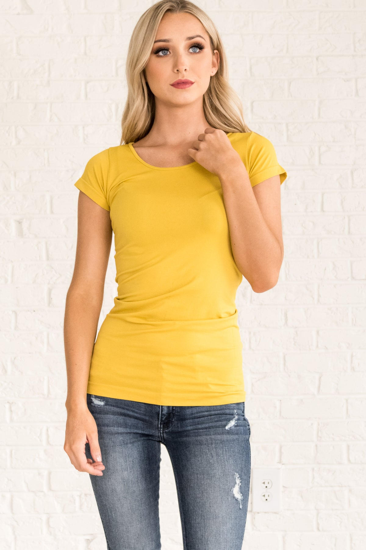 Mustard Yellow Long Fit Tees for Women