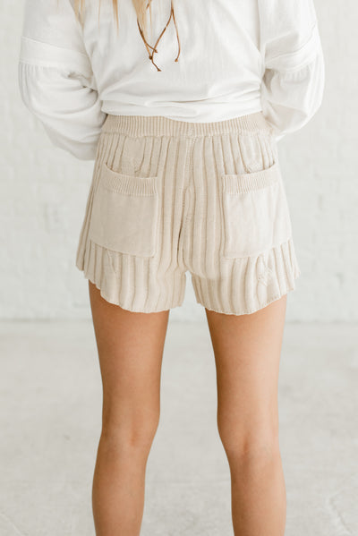 Beige Brown Women's Elastic Drawstring Waistband Boutique Shorts