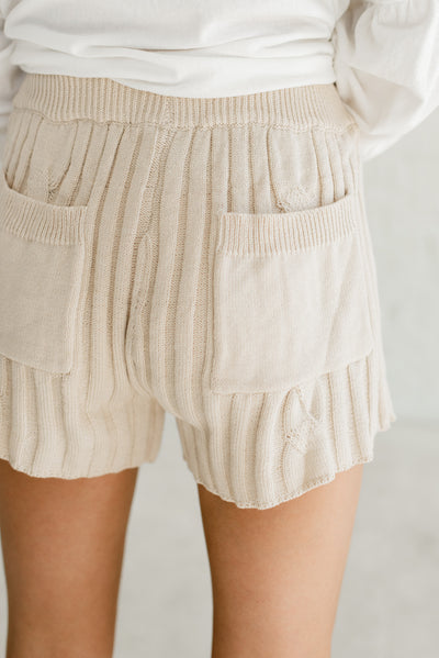 Cute Beige Brown Boutique Shorts with Back Pockets for Women