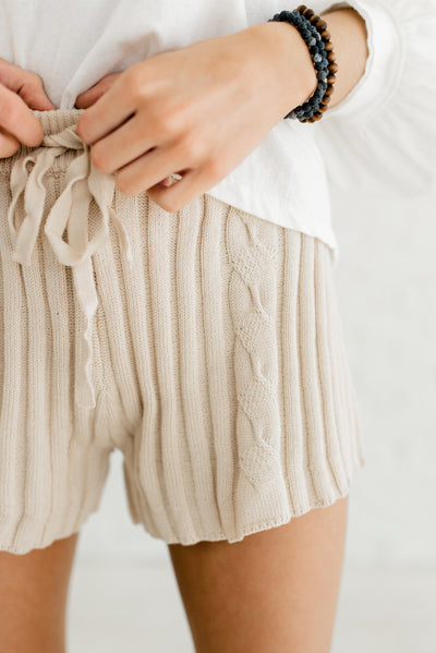 Beige Brown Neutral-Colored Boutique Shorts for Women