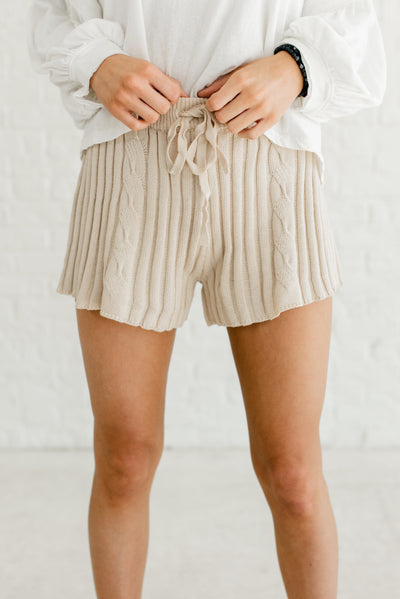 Beige Brown Cable Knit Material Boutique Shorts for Women