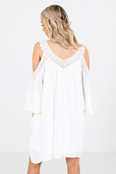 Women's White Crochet Detailed Boutique Mini Dress