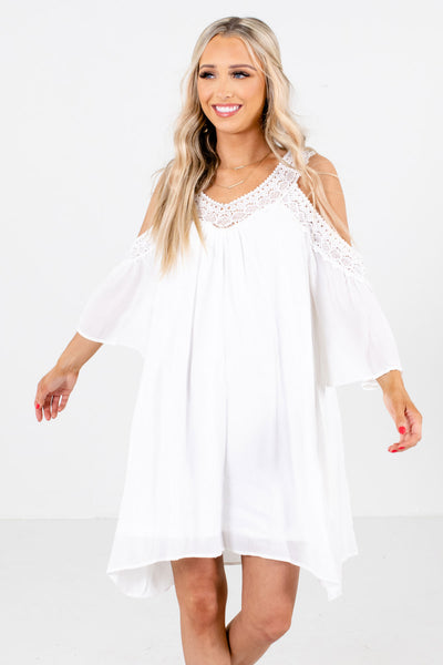 White Cold Shoulder Style Boutique Mini Dresses for Women