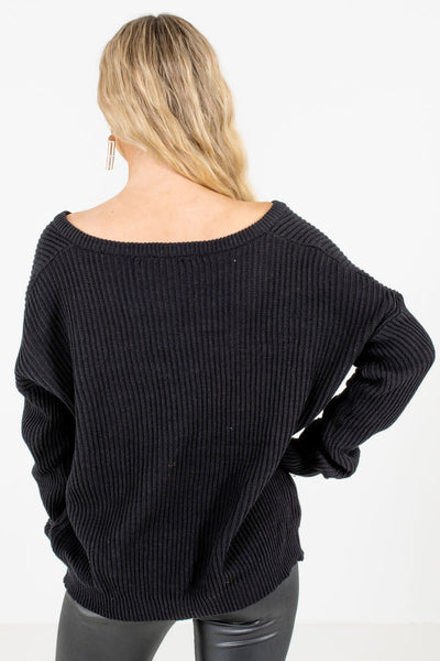 Women's Black V-Neckline Boutique Sweaters