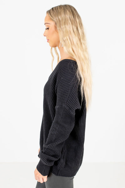 Women's Black Relaxed Fit Boutique Sweaters