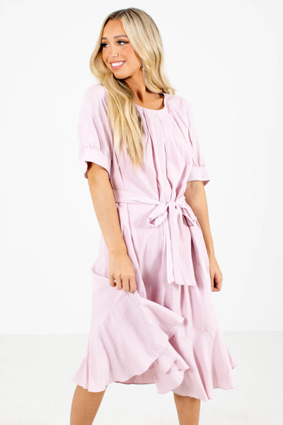 Pink Waist Tie Detailed Boutique Midi Dresses for Women