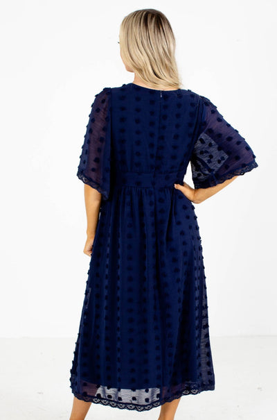 Women's Navy Midi Dress Boutique Clothing