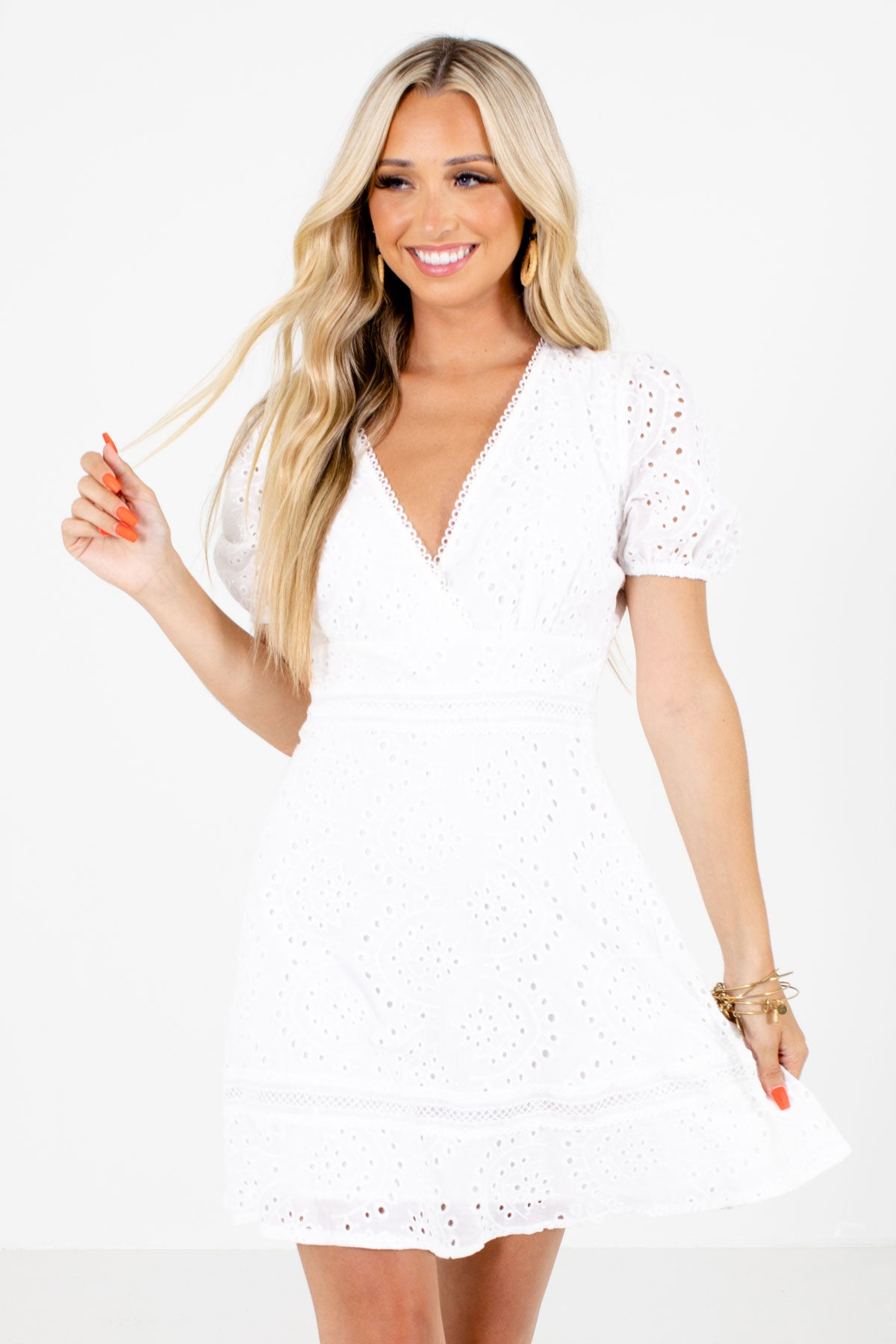 White Eyelet Boutique Mini Dresses for Women