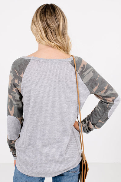 Women's Gray High-Quality Waffle Knit Material Boutique Tops