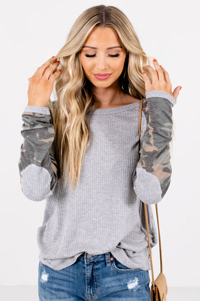 Women's Gray Elbow Patch Accented Boutique Tops