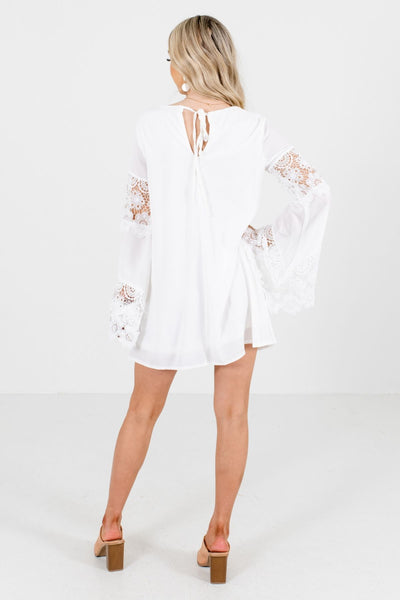 Women's White Round Neckline Boutique Mini Dress