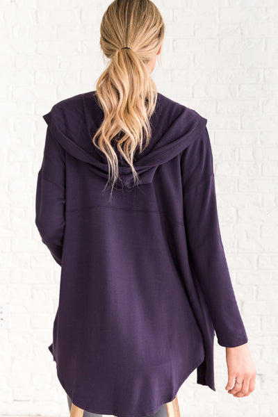 Plum Purple Cardigan Sweater
