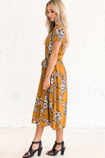 Mustard Yellow Floral Dresses