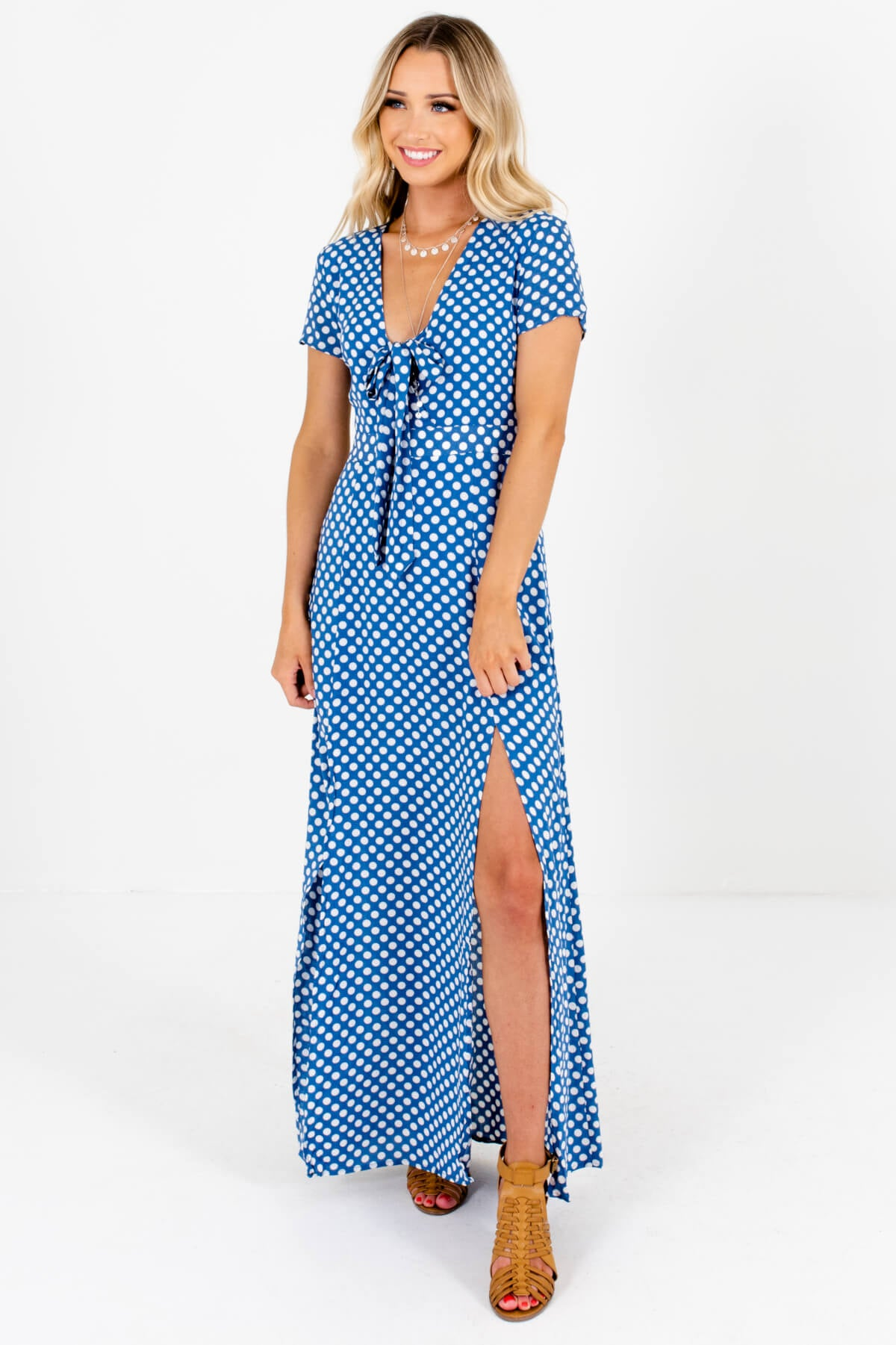 Blue White Polka Dot Patterned Boutique Maxi Dresses for Women