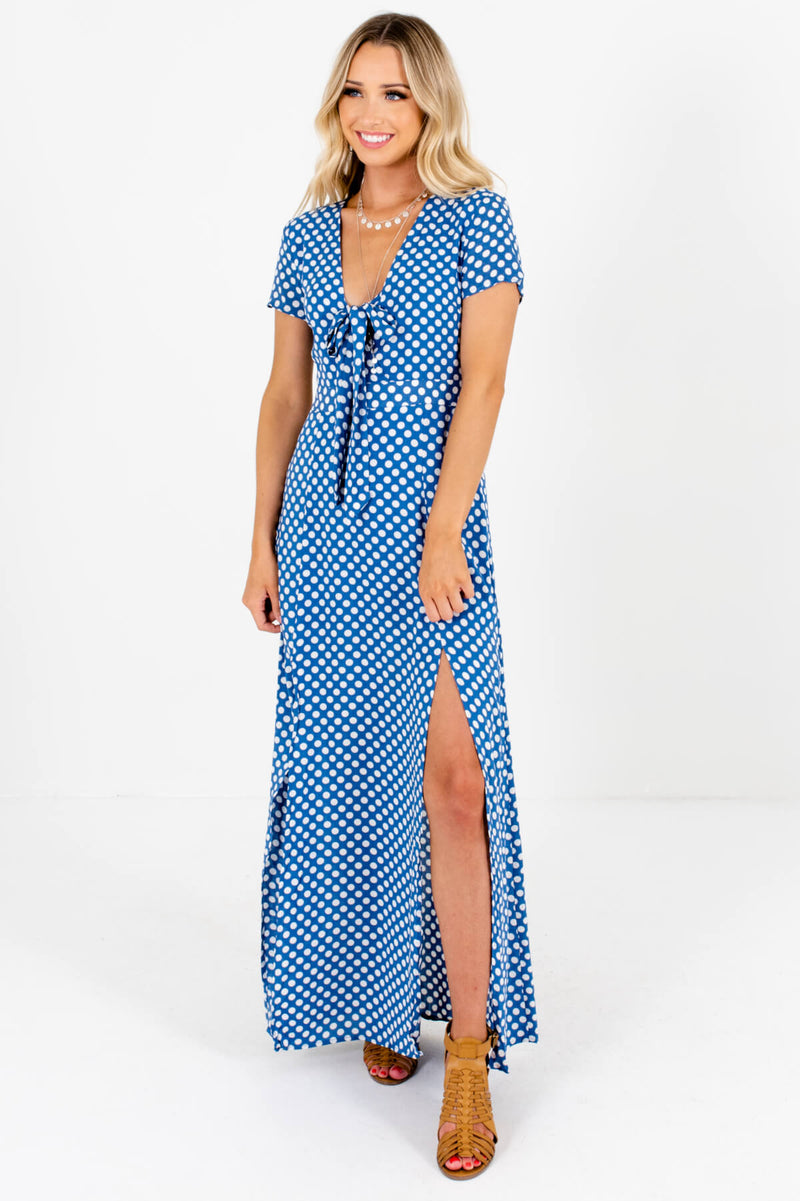 My Happy Place Blue Polka Dot Maxi Dress