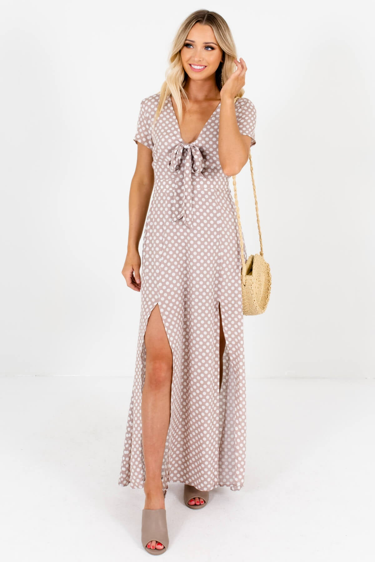 Taupe Brown White Polka Dot Patterned Boutique Maxi Dresses for Women