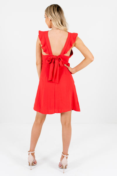 Red Ruffle Sleeve Pinafore Mini Dresses Affordable Online Boutique