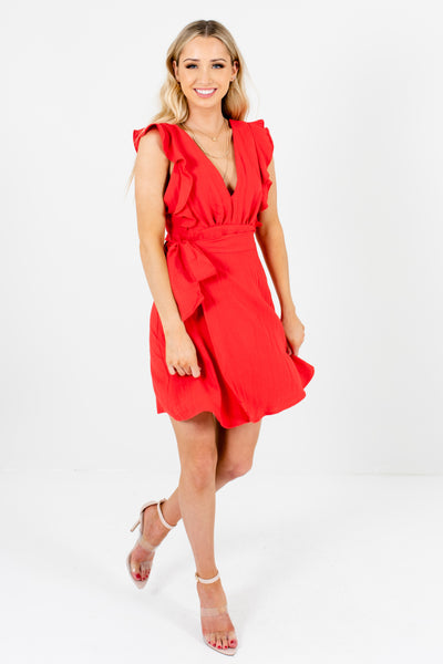 Red Pinafore Ruffle Wrap Bow Mini Dresses Affordable Online Boutique