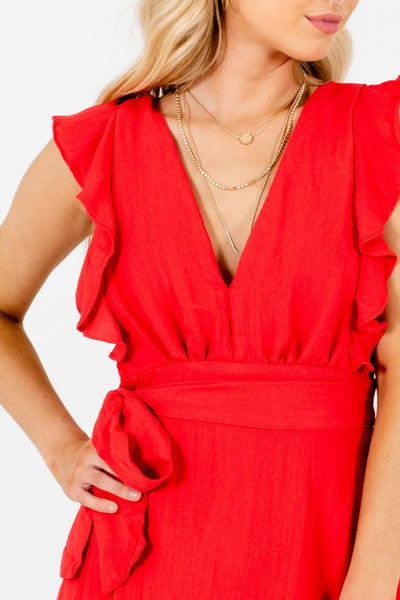 Red Ruffle Bow Pinafore Mini Dresses Affordable Online Boutique