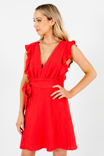 Red Pinafore Ruffle Wrap Skirt Bow Detail Mini Dresses for Women