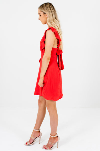 Red Ruffle Sleeve Bow Back Wrap Pinafore Mini Dresses for Women
