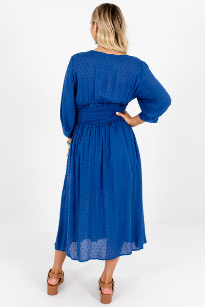 Women's Blue Smocked Waistband Boutique Midi Dresses
