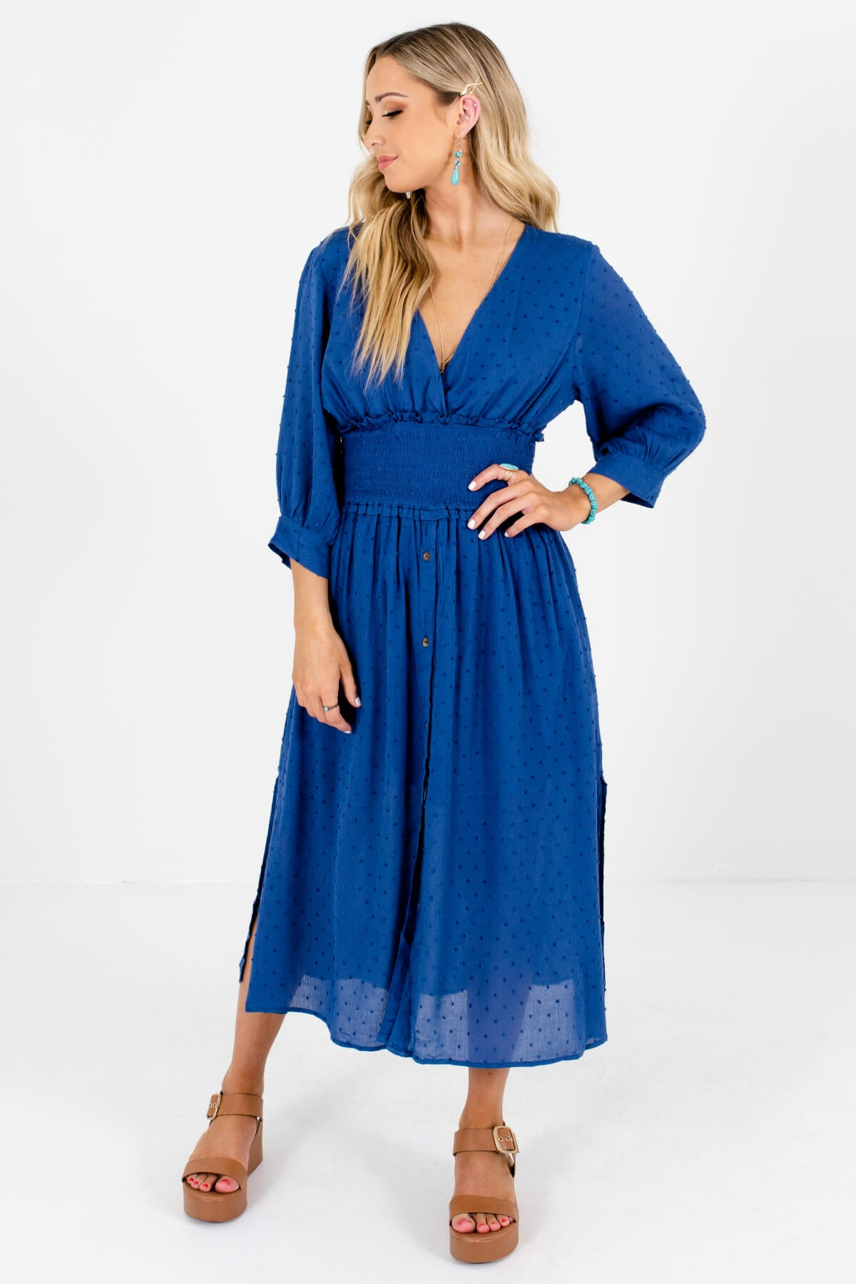Blue Polka Dot Textured Material Boutique Midi Dresses for Women