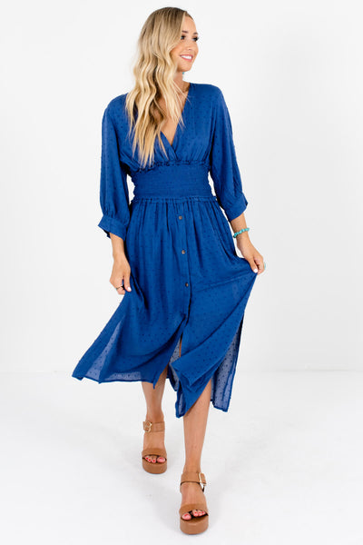 Women's Blue Hem Slit Detailed Boutique Midi Dress