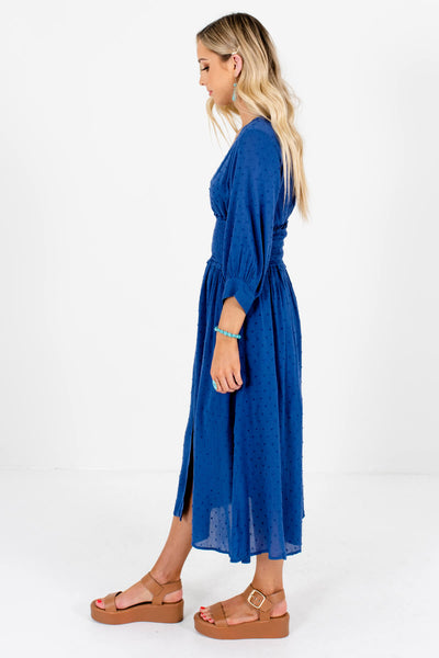 Blue 3/4 Length Sleeve Boutique Midi Dresses for Women