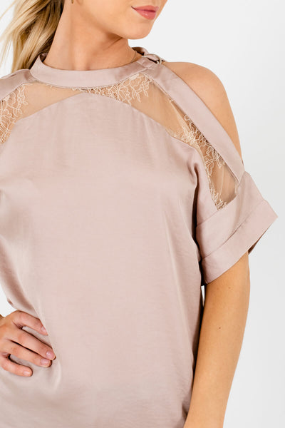 Metallic Beige Unique Satin Blouses Affordable Online Boutique