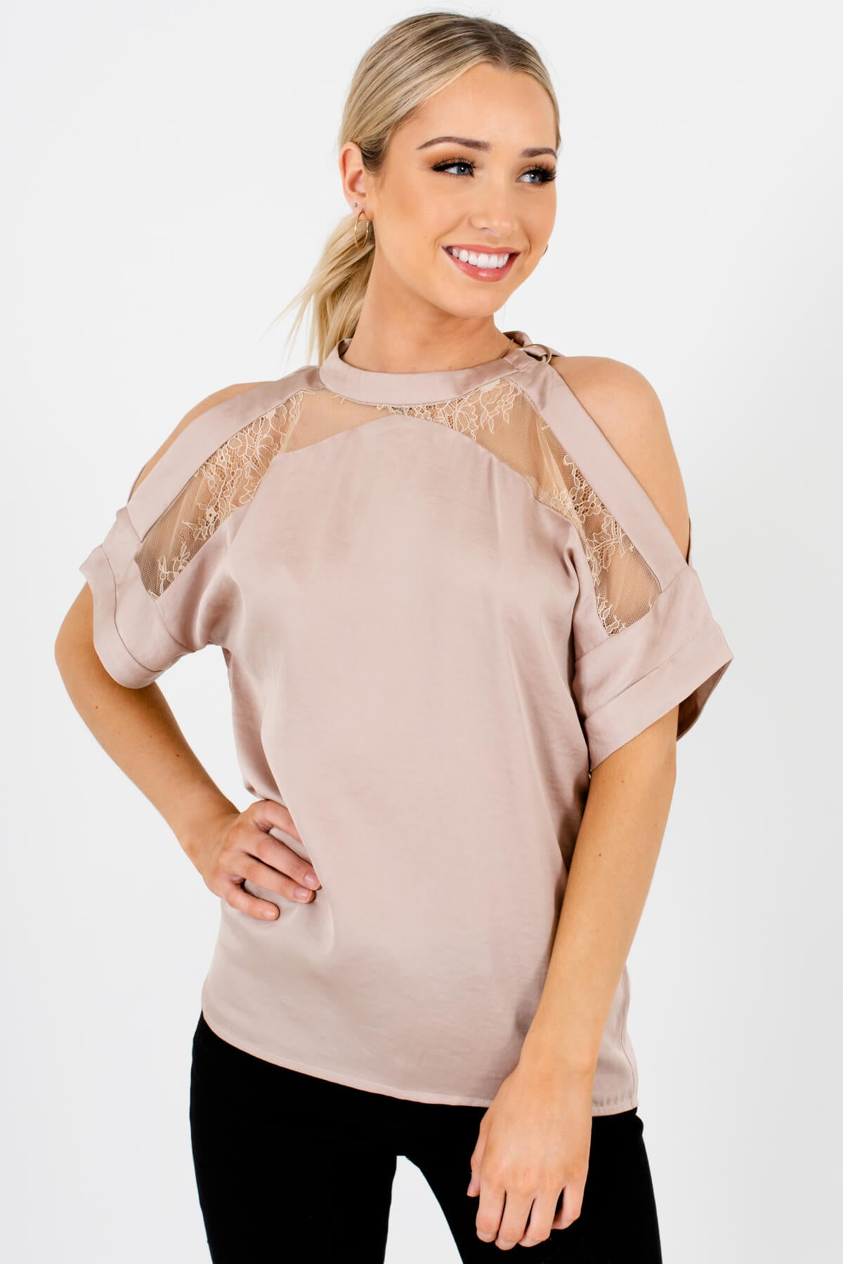 Beige Satin Lace Belted Neckline Cold Shoulder Blouses for Women