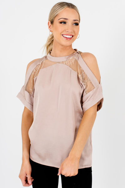 Metallic Beige Satin Blouses with Belted Neckline and Lace Accents