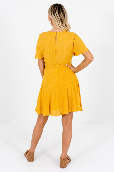 Women's Mustard Faux Wrap Style Boutique Mini Dress