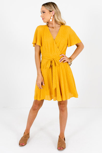 Mustard Yellow Polka Dot Cute and Comfortable Boutique Mini Dresses for Women