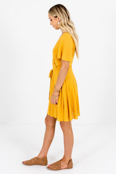 Mustard Waist Tie Detail Boutique Mini Dresses for Women