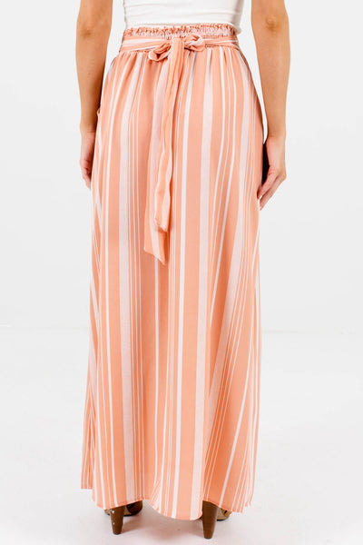 Women's Peach Pink Decorative Button Boutique Maxi Skirts